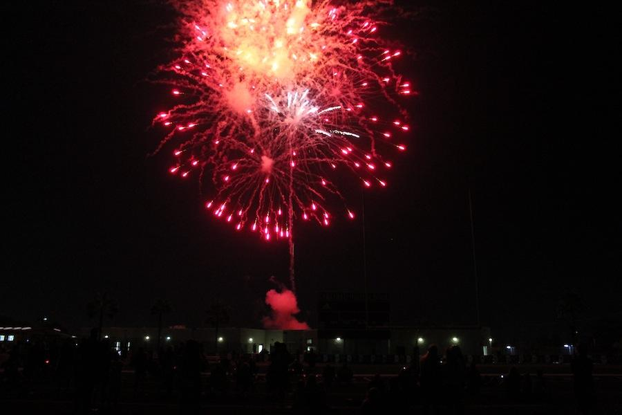 Fireworks explode after the Friday night 2015 Homecoming game. The fireworks helped end the game with a bang.