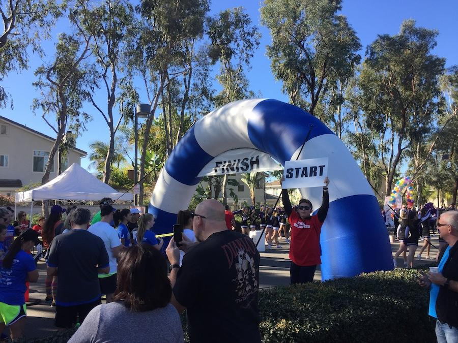 Runners gather at the starting line on Saturday at the Mitchell Thorp Foundation Charity Run. These runners are running to raise money for the foundation and their illness research.