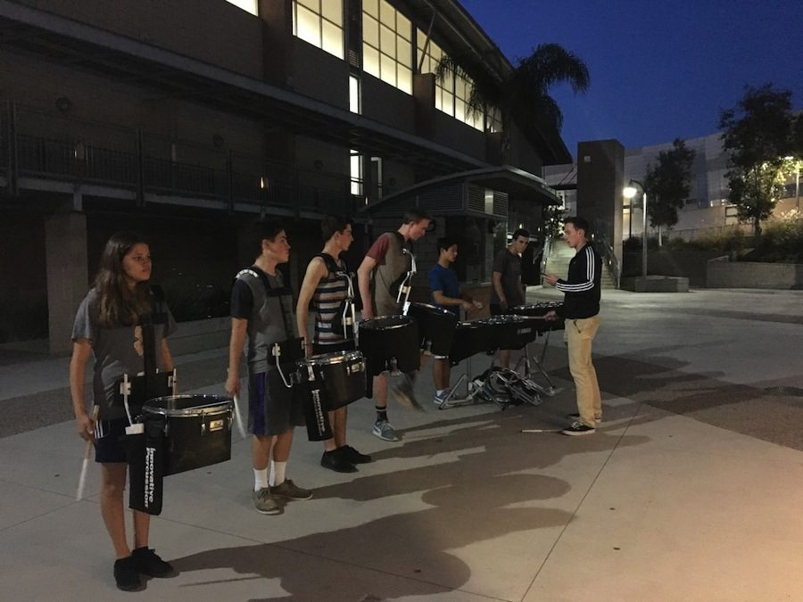 Drumline+practices+for+their+upcoming+season.+They+practice+their+drumming+skills+after+school+in+preparation+for+competitions.