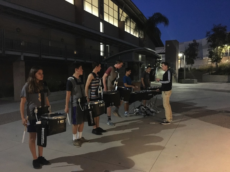 Drumline practices for their upcoming season. They practice their drumming skills after school in preparation for competitions.