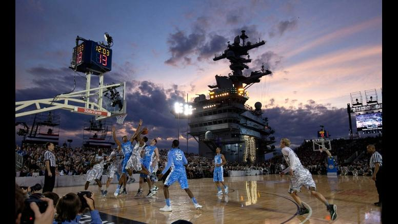 North Carolina and Michigan State compete on Carl Vinson