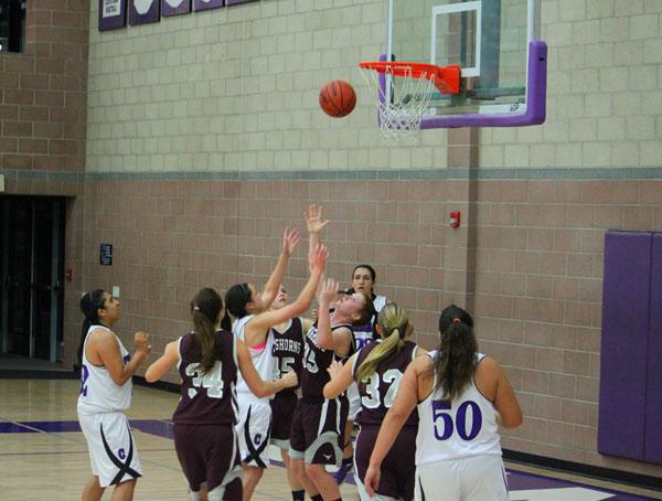 Womens varsity basketball plays against RBV