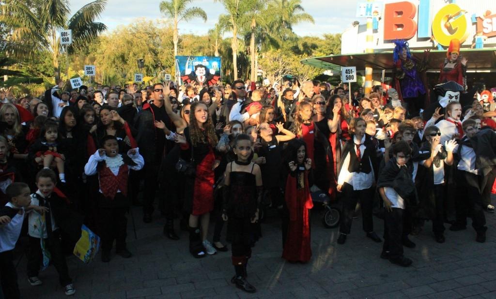 Over 700 people dressed up as vampires for the World Record attempt at LEGOLAND California on Friday, Oct. 12.