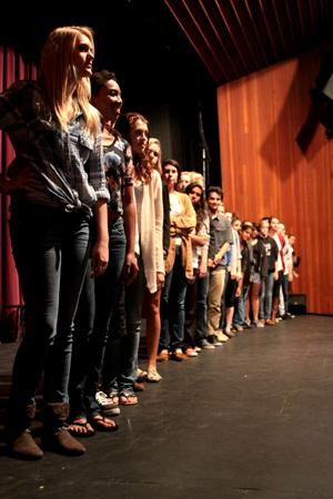 The advanced theatre program lines up after rehearsal for their DTASC showcase. (credit: Jared Cohn 10-22-12)