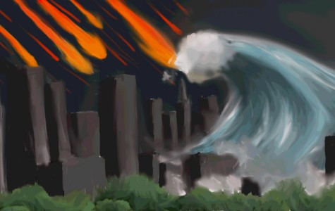 Waves crash upon the shores of New York in this 2012 piece of art. The theory of the world coming to an end clearly presented by the catastrophic natural disaster.