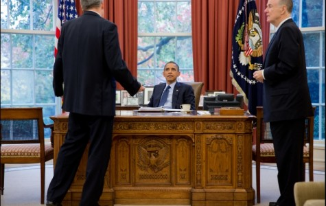 President Obama talks with Lt. Gen. Doug Lute, Deputy Assistant to the President and Coordinator for South Asia, left, and National Security Advisor Tom Donilon in the Oval Office, Nov. 13, 2012.