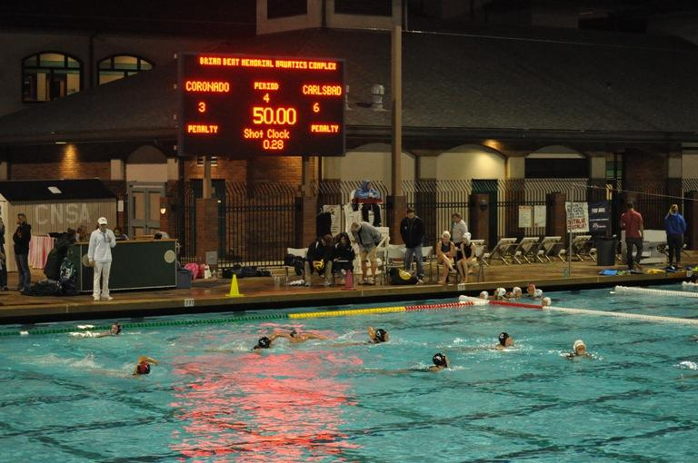Near+the+end+of+the+last+quarter+Varsity+is+up+8-6+against+Coronado.+In+an+effort+to+beat+them+down+the+pool%2C+the+girls+sprint+to+help+defend+their+goal.+