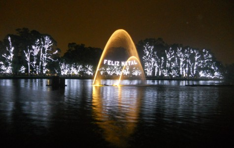 For the holiday season, lights at Ibirapuera Park in Sao Paulo lit up the words