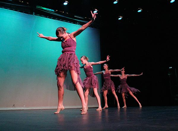 The Lancer Dancer freshmen perform a small group number in the Lancer Dancer Showcase.