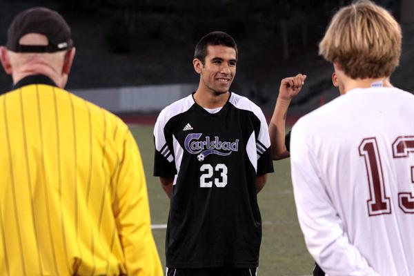 Senior Ruben Gonzalez waits for the coin toss before their game against Rancho Bueno Vista. The Lancers went on to win 4-1 with Ruben having one of the goals. (credit: Jared Cohn)