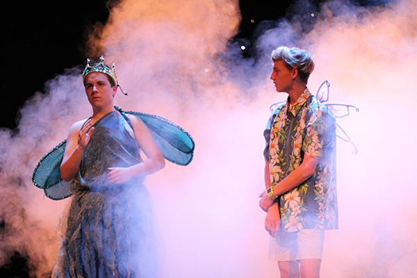 The Fairy King and Puck devise their plan in a haze of smoke.