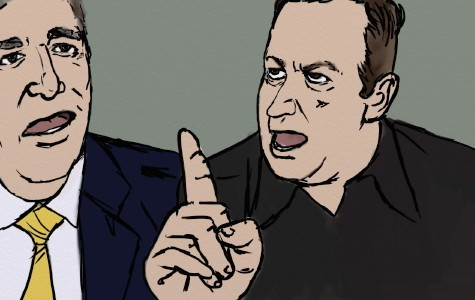 A drawing by Jeff Schaefer depicts the Peirs Morgan debate with Alex Jones regarding gun control.