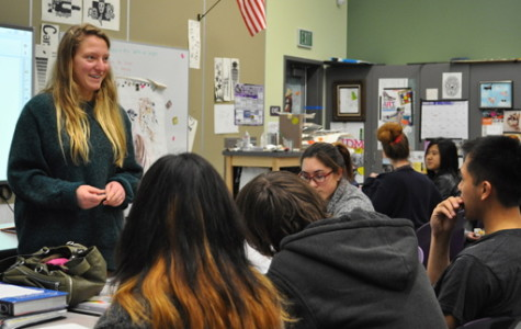 Students of the SETA club meet every odd Wednesday to discuss their upcoming projects. President Sophie Blake (left), spoke on Feb. 13 about their pet toy drive coming up next month.