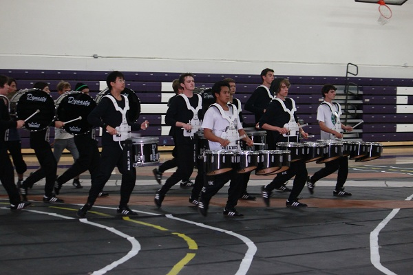 On March 2, all members of drumline ran through their routine in the Old Gym before leaving for their competition. Drumline consists of various types of drums along with several percussion members.