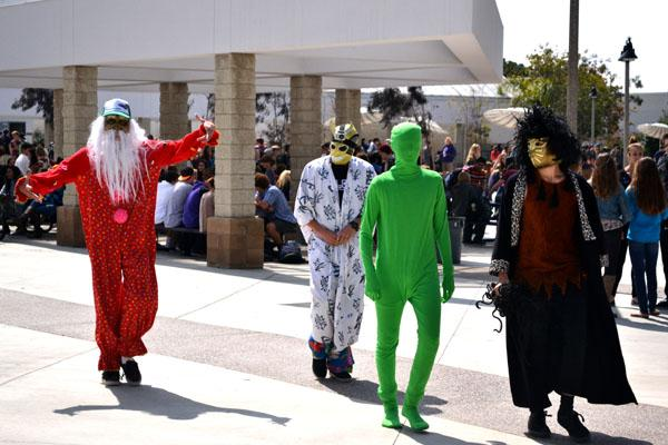 On Monday 18, four students randomly appear during lunch with costumes and interacted with students and the students were amused by it. These students were making a video with there GoPro Camera.