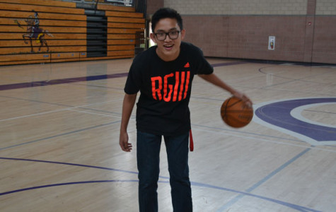 Junior, Sean Deng practices his dribbling skills.
