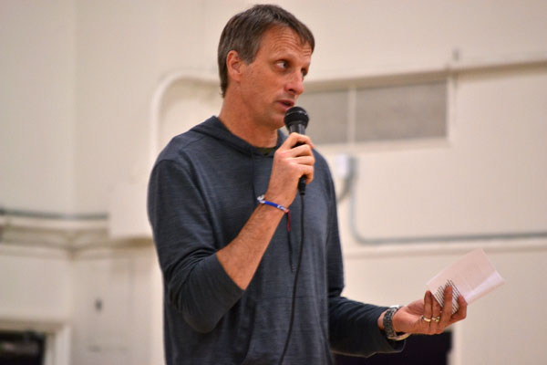 On March 28, Tony Hawk made an appearance for the Banned The R Word Assembly. He talked about his personal experiences as he grows up and tells the audience that its hurtful and everyone has feelings