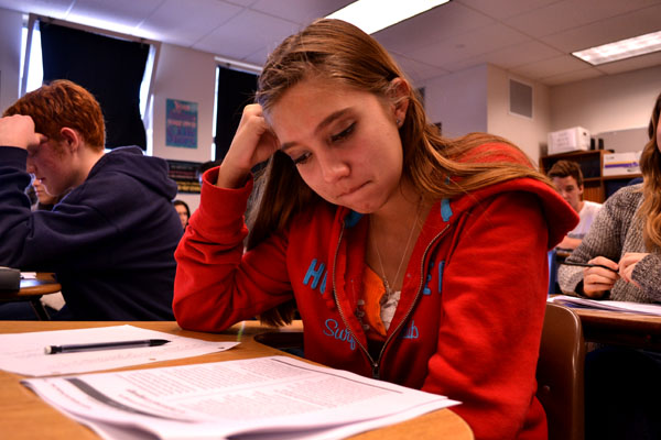 Sophomore Vanessa Torres prepares with her classmates for the  early morning tests March 12 and 13 in Mr. Livingstone's English class