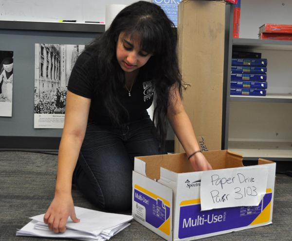 Senior Priscilla Ibrahim is an active member of the CHS Student Union and currently is focused on their paper drive. The Student Union is hoping to collect reams of paper for teachers at CHS. If students have paper to donate, the collection box is in any English class.