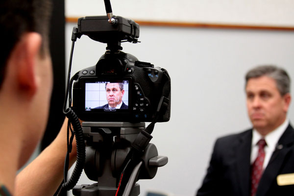 Dr. Steitz gives his statement to CHSTV for the Steering Teens Straight program during the reenactment of the sentencing at the Vista Courthouse.