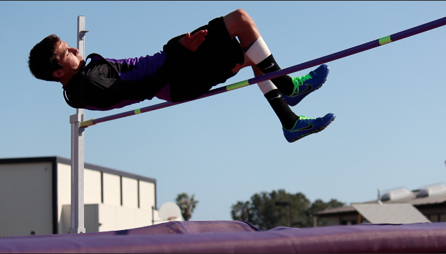 Sophomore Hunter Sexton clears a height of 4'8