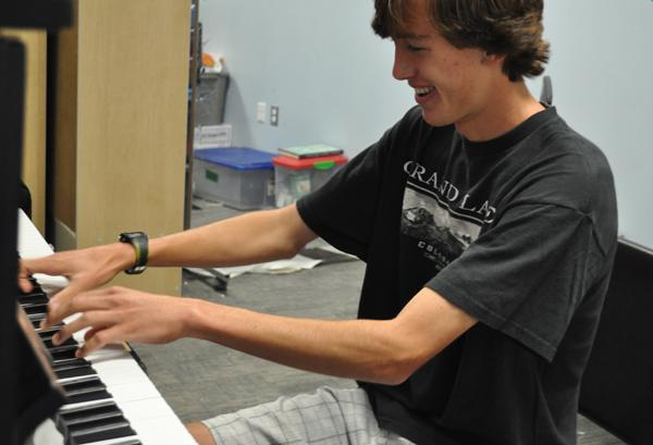 Sophomore, Nathan Williams practices his talent on the piano in Music Theory, an AP class on campus offered to musically talented students. Nathan's passion for piano will help him conquer his lifetime goals.