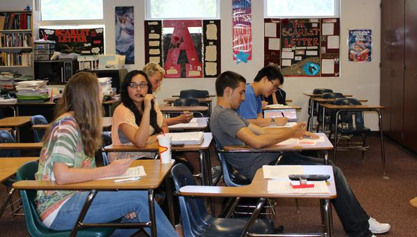 Unlike most of their peers, six students sit in English class and make use of the reinstated furlough day.  Many students who attended school today used the time to catch up on late work, make up tests or get ahead on end-of-the-year projects.