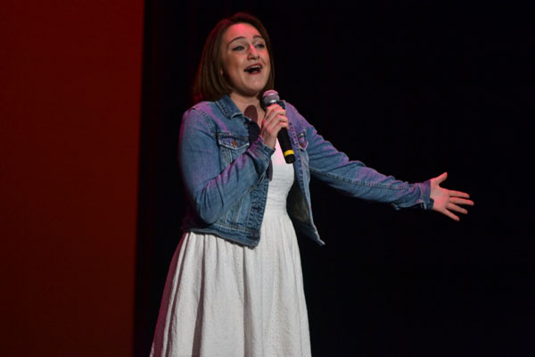 Senior Alexandria Miller performs a solo during the talent show.