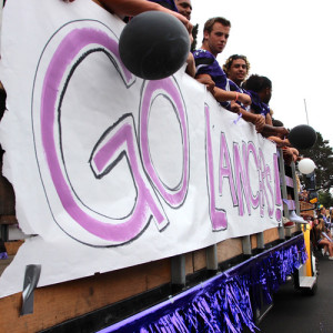 Carlsbad High's football team participated in the annual Homecoming parade, proudly carrying on the Carlsbad tradition.