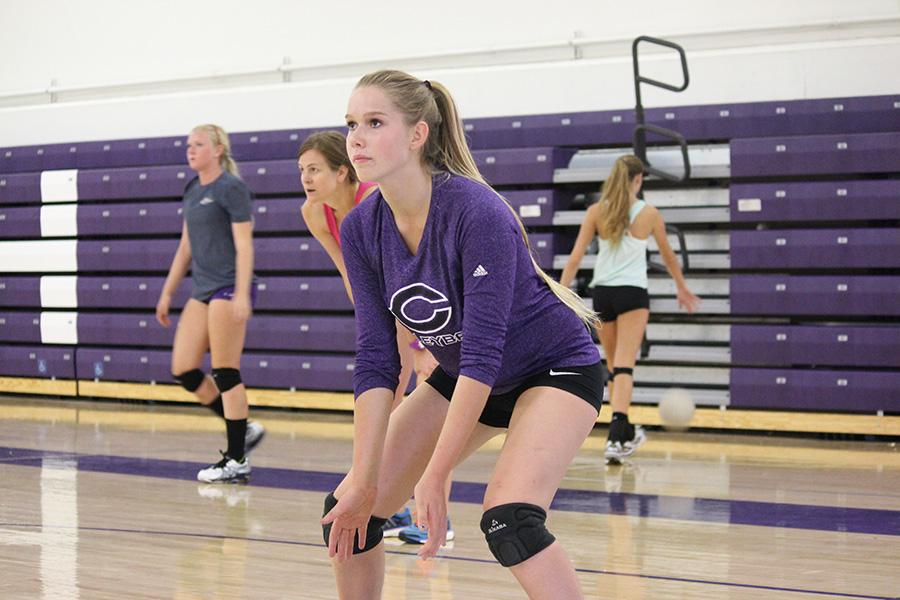 Varsity+volleyball+player+Kasie+Coogan+prepares+to+pass+to+her+teammate+during+warm+ups+at+their+2+hour+practice.+The+next+girls+game+is+this+Wednesday+at+Santa+Fe+Christian%2C+and+a+home+tournament+starts+at+CHS+on+Friday.