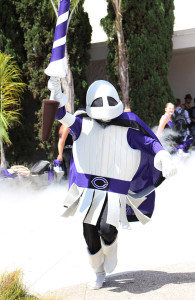 The new Lancer mascot victoriously runs from the smoky Carlsbad tunnel and makes his first appearance  to Carlsbad students at the pep rally on August 30th. You can catch the new mascot at every home football game this season and spirit events throughout the year.