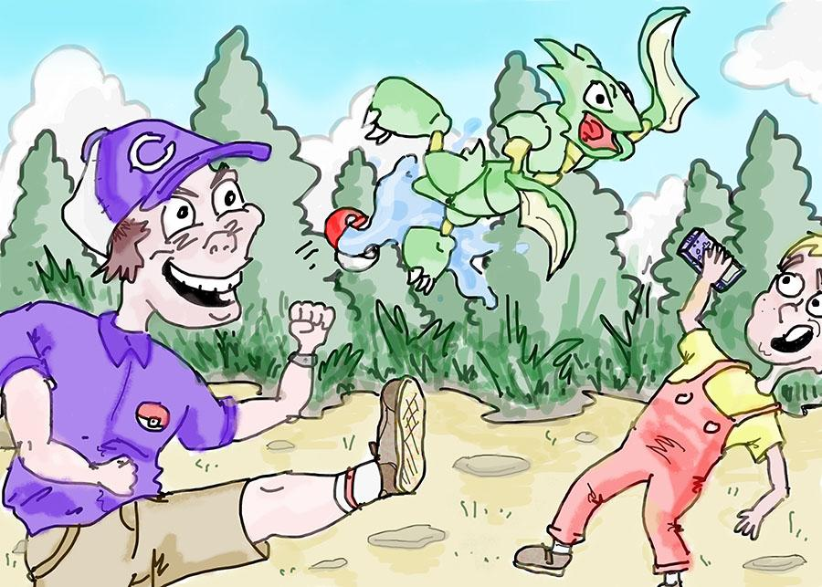 A carlsbad student plays Pokemon against his opponent.