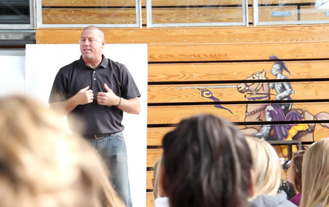 John Vandenburgh, founder of Peer Leaders Uniting Students (PLUS), inspires students through motivational lectures.  Students are encouraged to participate in activities relating to social issues on campus.