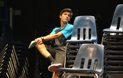 Junior Theo Vance rehearses for his upcoming role in the play