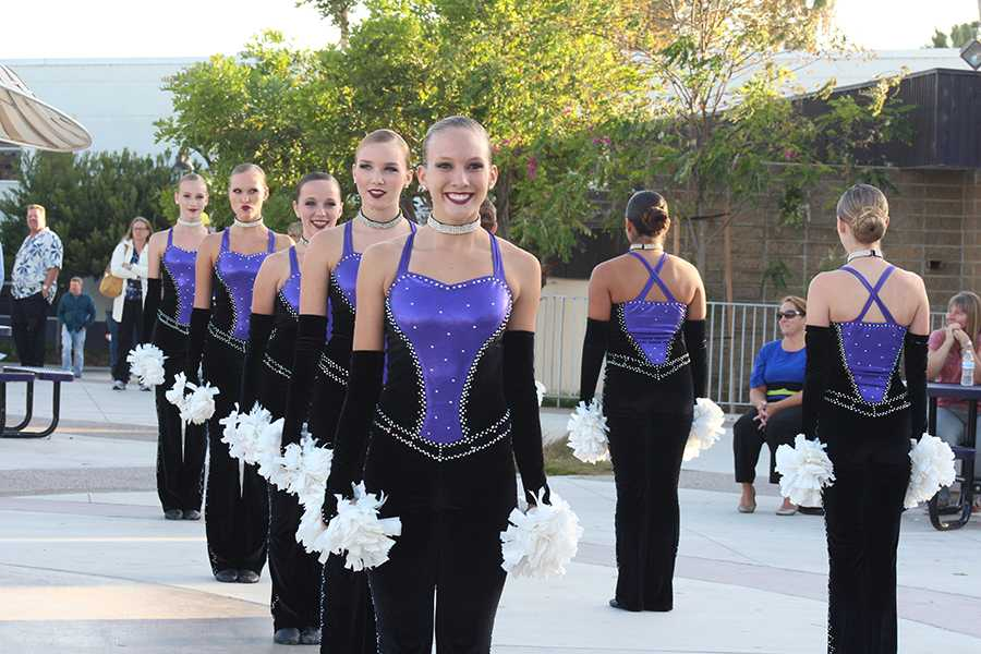 Xcalibur prepares to perform their routine at the back to school night showcase on Sep.26.  The girls were excited since the showcase was a brand new addition to the back to school night festivities.