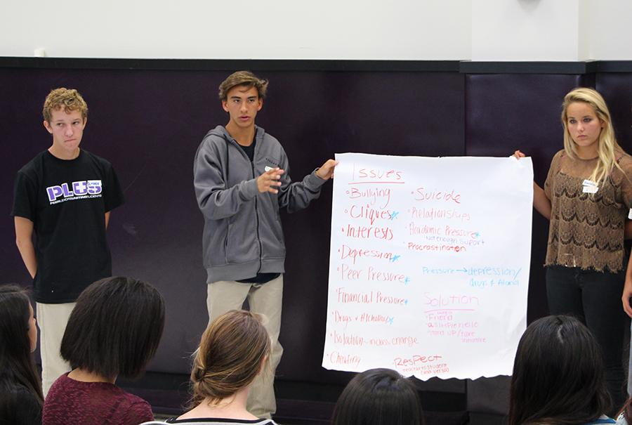 PLUS member Grady McDermott leads a group discussion with PLUS forum attendees.  Peer Leaders Uniting Students strives to identify problems on campus and work towards fixing them.