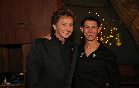 Senior Anthony Castelli poses with one of his idols, Barry Manilow. For Castelli, meeting Manilow was a dream come true as well as an opportunity to further his career.
