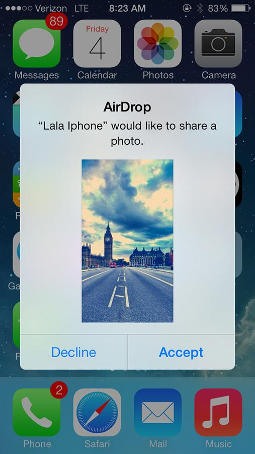 Airdrop connects to any online phones around you and uses wifi to send images between devices without exchanging phone numbers or email. Although, this feature is only available on iPhone 5's.