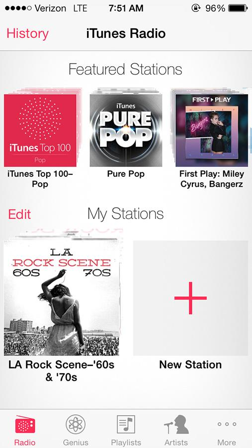 iTunes Radio has been added to the iPhone's music, and similar to Pandora and other personalized radio websites, it allows users to listen to music not in their library, but similar to their interests. From these stations you can easily save and purchase songs that you hear, as well as save stations you want to listen to again.