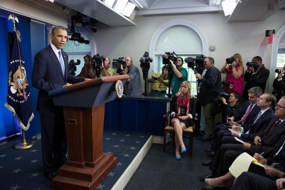 President Barack Obama delivers remarks on the budget negotiations, in the James S. Brady Press Briefing Room of the White House, Sept. 30, 2013.