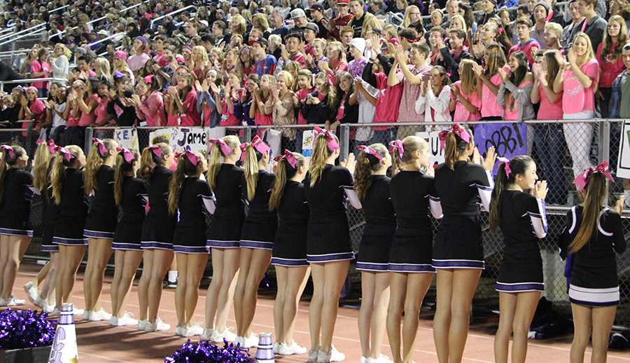Cheer+and+loud+crowd+support+breast+cancer+by+wearing+pink+at+the+football+game.+October+is+breast+cancer+awareness+month+and+the+Lancers+showed+their+spirit+by+wearing+as+much+pink+as+possible.