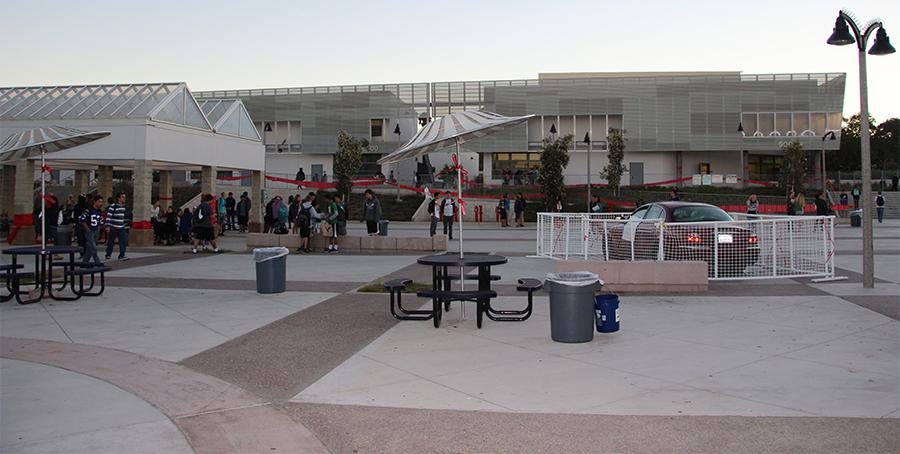 Students check out the red-covered campus. Red Ribbon Week was a big success in promoting the pledge for no drugs.