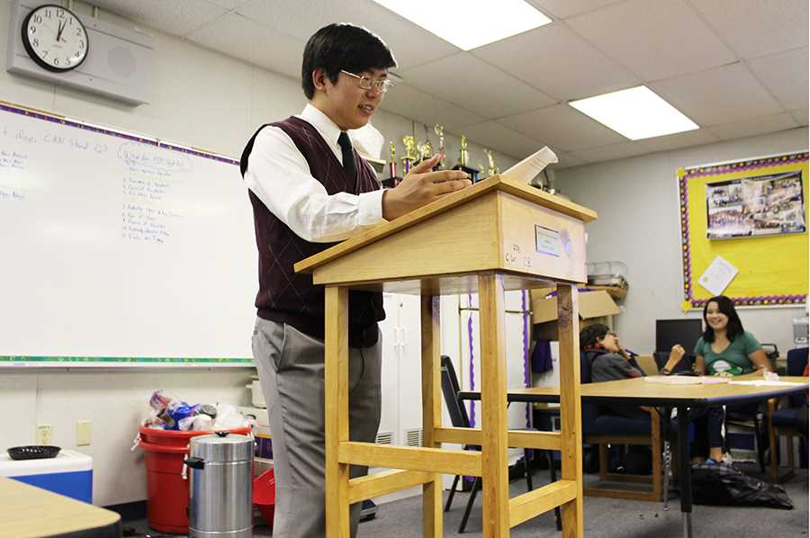 Senior Jeffrey Lee, Congress captain on the Speech and Debate Team, runs through his speeches whenever possible.  While the team  dresses in their suits on days of their tournaments, Jeffrey insists every Friday to be a Fancy Friday.