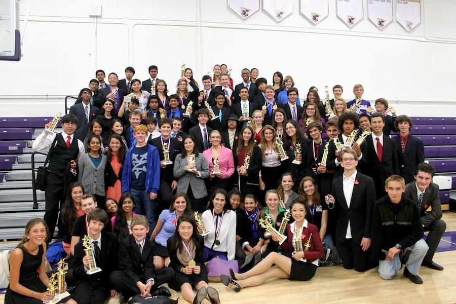 The Speech and Debate team fills the gym after awards ceremony for their first League IE Tournaments.  As of last year, the team was recognized as being in the top 1% of the best speech teams in the nation.