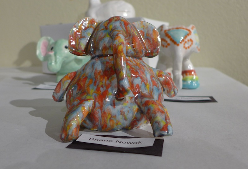 A sculpture of an elephant, created by senior Shane Nowak, is put on display at the Art Exhibit in the CAC. Every year, students' artwork is put up in the CAC for all residents to see, offering great opportunity for students to express themselves.