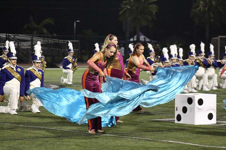 At halftime during Friday's game, colorguard and band performed the pieces they've been competing for the last home game. Color guard has been moved up 2 competition divisions, and still has been performing exceptionally well, placing 2nd last weekend.