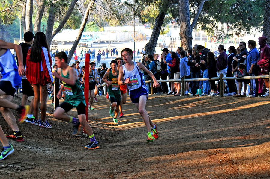 Junior Jack Conklin races up the first hill at the Mt. SAC invitational on Oct. 26. At one of the largest cross country invitationals in the world, Conklin ran 2.93 miles in 16:35, placing 79th in his race.