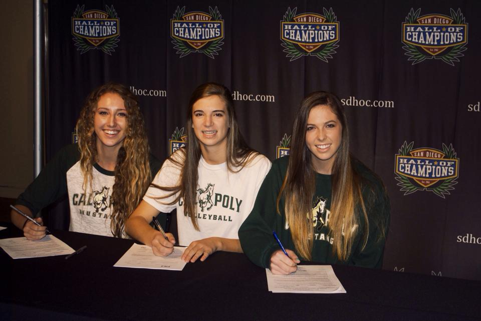 Senior+Caihla+Petiprin%2C+alongside+future+teammates%2C+signs+her+letter+of+intent+to+Cal+Poly+San+Luis+Obispo%2C+a+top+choice+for+the+talented+volleyball+player.+%22I%27ve+been+looking+forward+to+becoming+a+mustang+for+a+while%2C%22+she+says%2C+%22and+all+my+friends+have+been+really+supportive.%22