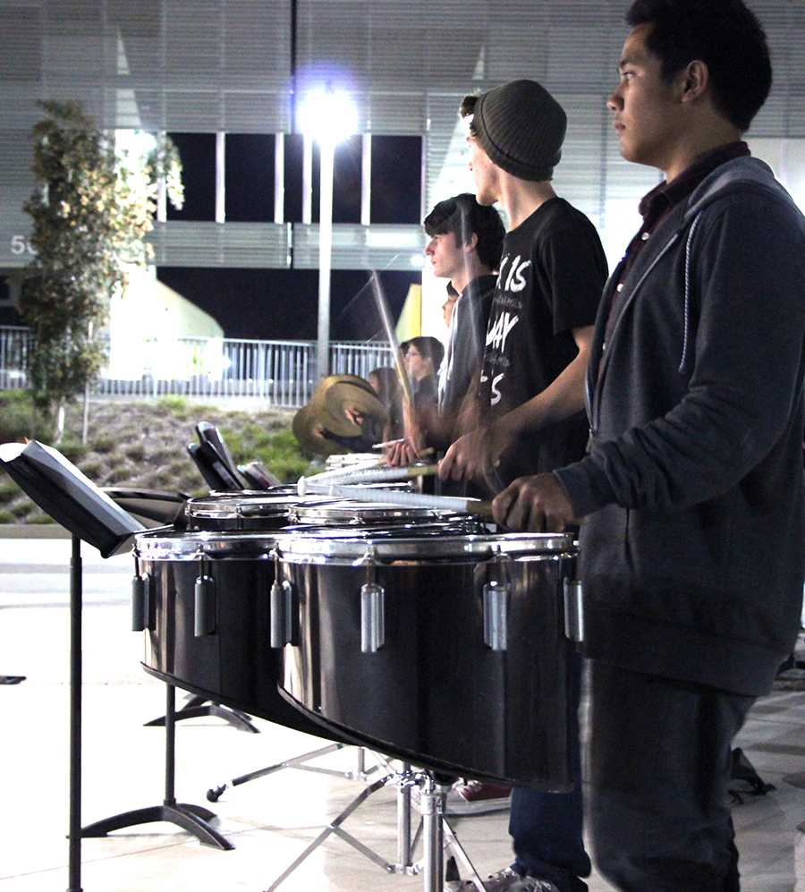Drum+Line+dropping+some+pretty+sweet+beats+at+practice+in+the+quad.+They+work+hard+during+the+week+to+practice+for+their+upcoming+competitions.