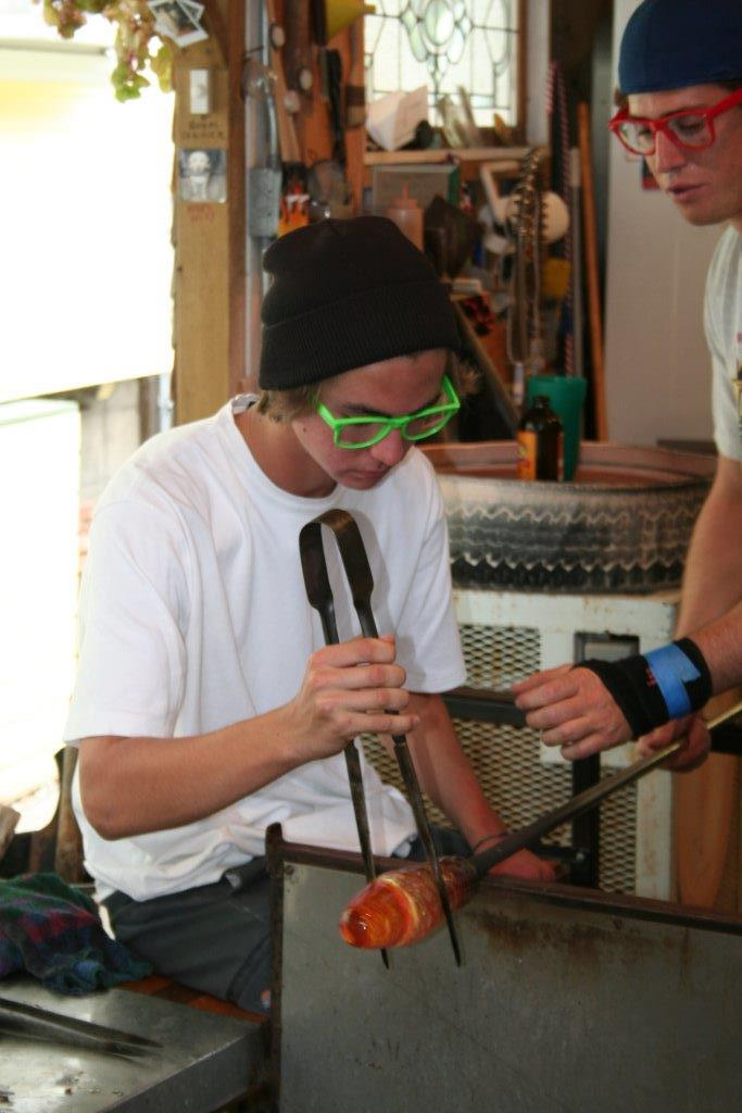 Shane Nowak has been blowing glass for over two years. He creates his pieces at a studio in Hillcrest called Marshall Arts Studio.